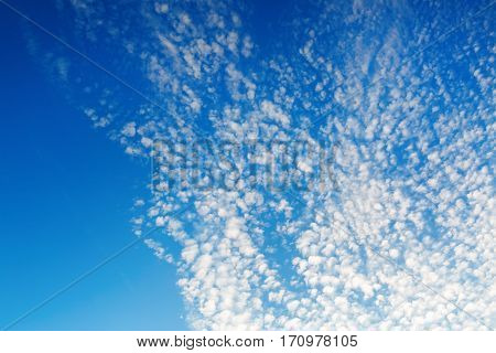 Blue sky with white tiny clouds. Natural background.