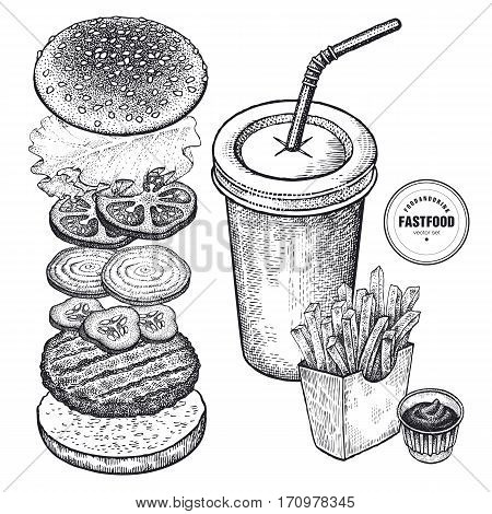 Fast Food vector illustration. The drink french fries ketchup and a burger. Separately cutlet tomatoes onion rings cucumber lettuce bun. Vintage engraving. Black and white.