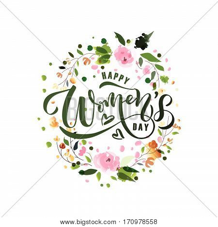 Happy Women's Day text as International Womens Day badge/tag/icon. Text card/invitation/banner. Womens Day background. Happy Woman's Day lettering typography poster. Womens vector illustration EPS 10