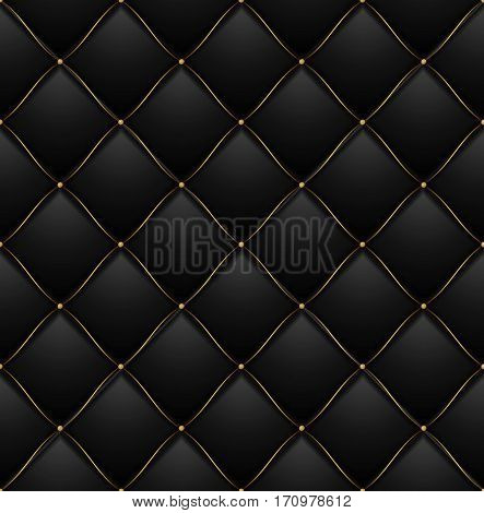 Quilted Pattern Background Vip Black with Gold Thread Luxury Expensive Concept Decorative Upholstery Soft Texture. Vector illustration