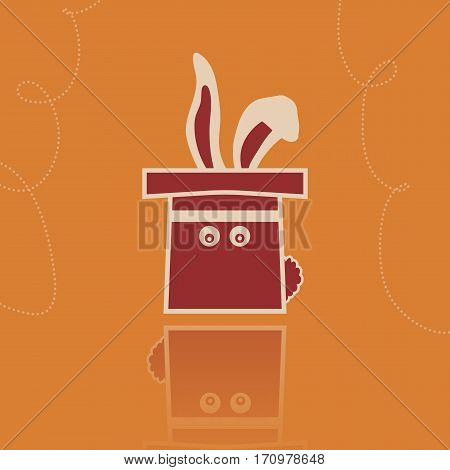 Vector rabbit in the hat illustration. Hat with holes for eyes. Flat image in vintage style on the orange background.