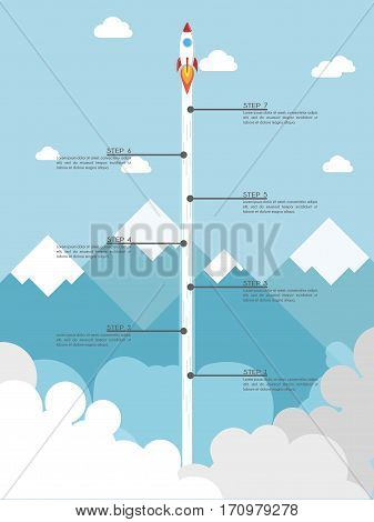 Flat design of Rocket launch. Start Up Strategy infographic