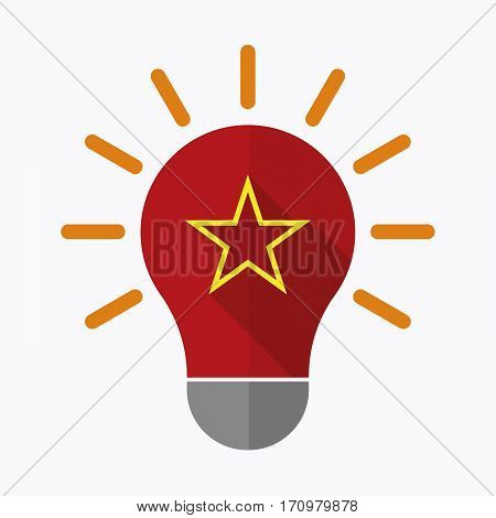 Isolated Light Bulb With  The Red Star Of Communism Icon