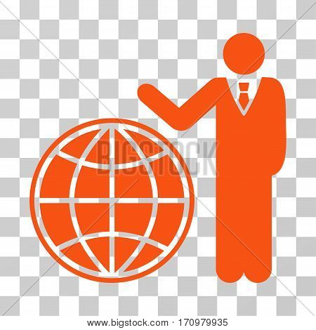 Planetary Manager icon. Vector illustration style is flat iconic symbol orange color transparent background. Designed for web and software interfaces.