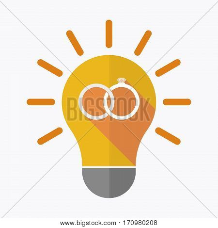 Isolated Light Bulb With  Two Bonded Wedding Rings