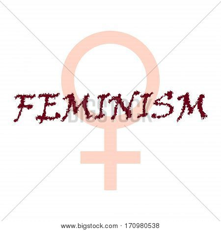 Female symbol with text Feminism. Woman's concept.