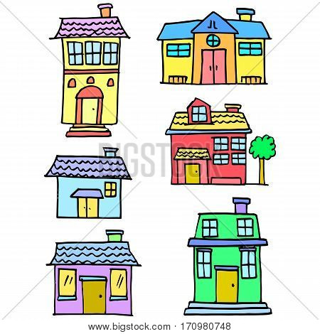 Vector art of house colorful set collection stock