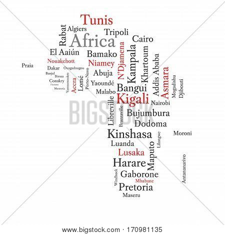Conceptual African map in black and red font isolated on white. Vector illustration.