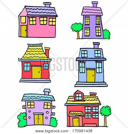Illustration of house set design collection stock