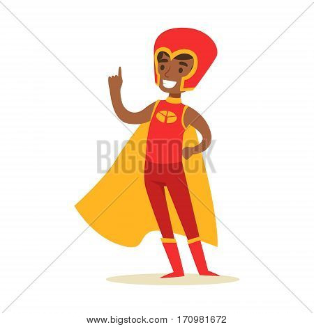 Boy Pretending To Have Super Powers Dressed In Red Superhero Costume With Yellow Cape And Helmet Smiling Character. Halloween Party Disguised Kid In Comics Hero Outfit Vector Illustration.