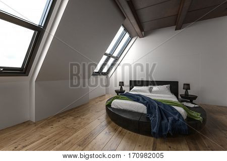 Modern attic apartment with slanted windows and unusual round bed on hardwood floors. 3d Rendering.