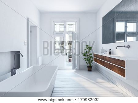 Modern stylish white urban bathroom interior with wooden floor, large mirror and wall mounted mirror and vanity lit by sun streaming in through a window and door leading to a patio, 3d rendering