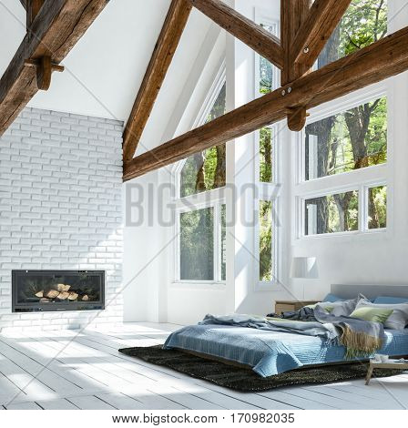 Big bed on white floor in bright room with wooden beams and fireplace brick wall. Minimalist interior design concept. 3d rendering.