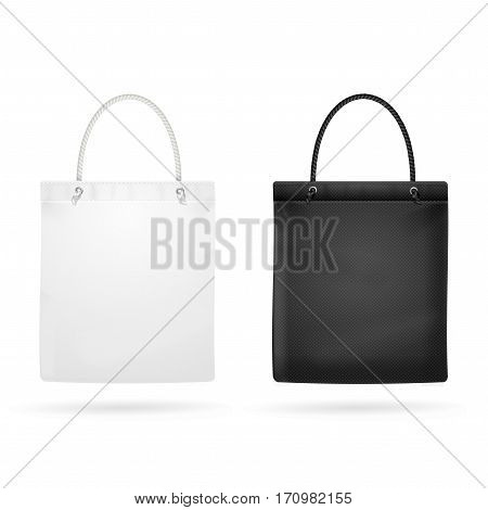 Realistic White and Black Template Blank Fabric Cloth Tote Bag Empty Mock Up Design Element. Vector illustration