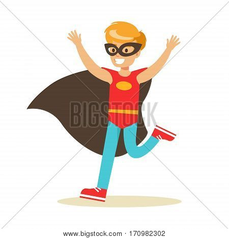 Boy Pretending To Have Super Powers Dressed In Red Superhero Costume With Black Cape And Mask Smiling Character. Halloween Party Disguised Kid In Comics Hero Outfit Vector Illustration.