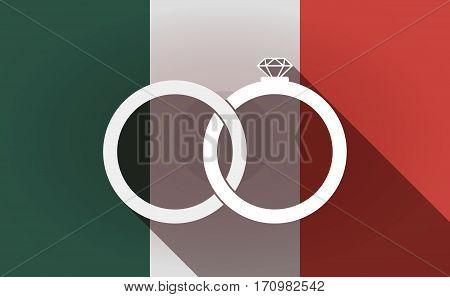 Long Shadow Mexico Flag With  Two Bonded Wedding Rings