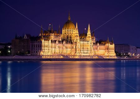Budapest. Parliament. Night. Hungary. Danube. Europe. Night landscape.