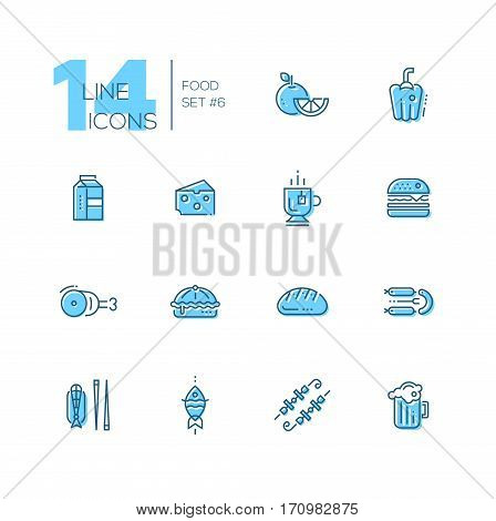 Kinds of Food - set of modern vector line icons with accent color. Orange, pepper, milk, cheese, tea, hamburger, meat, pie bread sausages fish kebab beer. Material design concept symbols