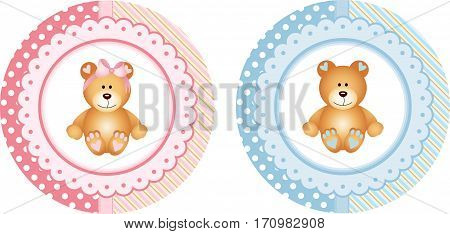 Scalable vectorial image representing a baby shower round sticker labels with teddy bear, isolated on white.
