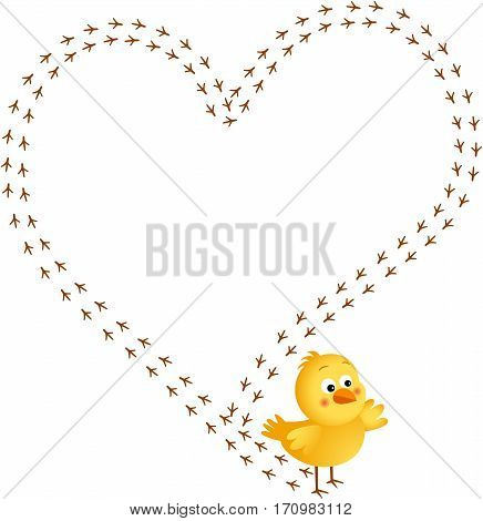 Scalable vectorial image representing a chick footprint forming a heart, isolated on white.