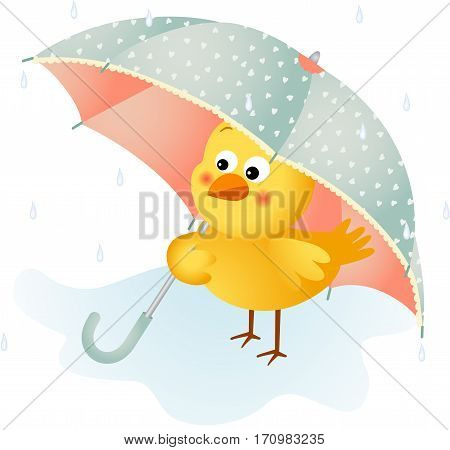 Scalable vectorial image representing a chick in the rain with umbrella, isolated on white.