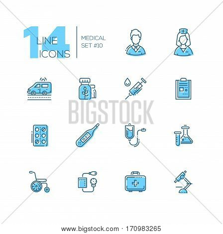 Medical Equipment - modern vector line design icons set. Male, female doctor, ambulance, medicine, syringe, record, pills, thermometer, drip chamber, test tube wheelchair blood pressure first aid