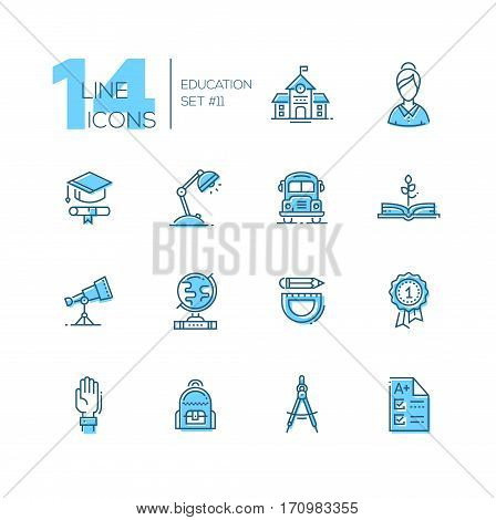 School and education - modern vector line design icons set with accent color. School building, female teacher, graduation cap, certificate, lamp, bus, book, telescope, globe, stationery, badge hand backpack compasses test. Material design concept symbols