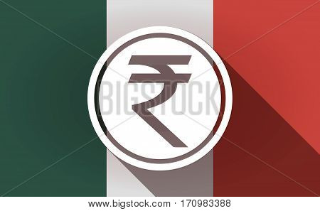 Long Shadow Mexico Flag With  A Rupee Coin Icon