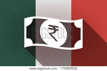 Long Shadow Mexico Flag With  A Rupee Bank Note Icon