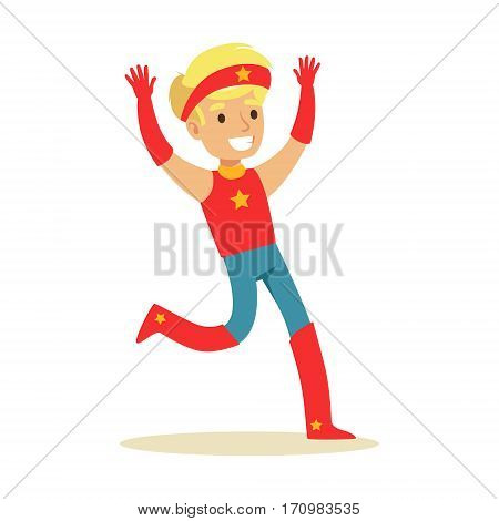 Boy Pretending To Have Super Powers Dressed In Red Superhero Costume With Headband With Star Smiling Character. Halloween Party Disguised Kid In Comics Hero Outfit Vector Illustration.