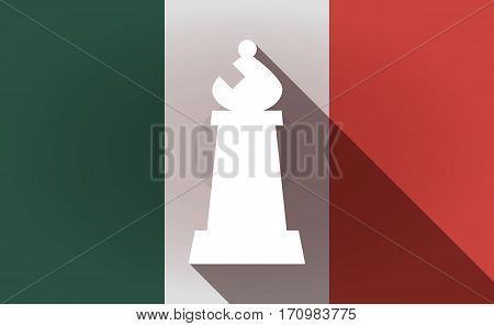 Long Shadow Mexico Flag With A Bishop    Chess Figure