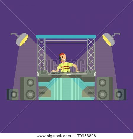 DJ And His Mixer Equipment And Light Show, Part Of People At The Night Club Series Of Vector Illustrations. Cartoon Character On The Night Out In Dark Music Club Having Good Time.