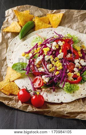 Ingredients For Tacos Or Burrito Making. Fresh Organic Vegetable