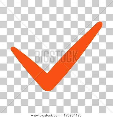 Valid icon. Vector illustration style is flat iconic symbol orange color transparent background. Designed for web and software interfaces.