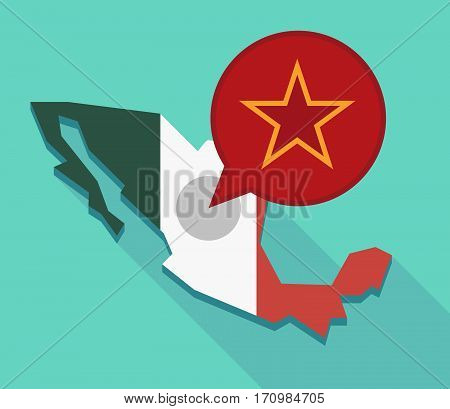 Long Shadow Mexico Map With  The Red Star Of Communism Icon