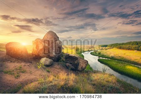 Summer Landscape In The Beautiful Steppe At Sunset
