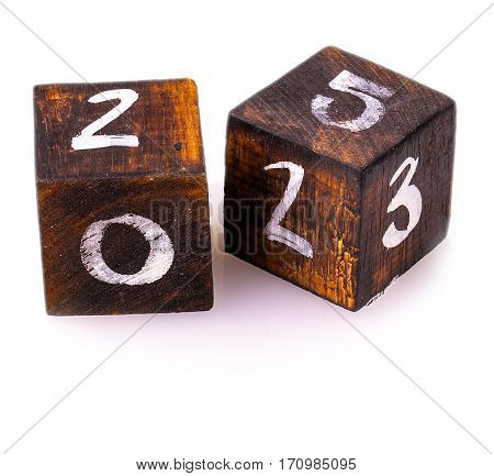 wooden blocks with numbers isolated on white background