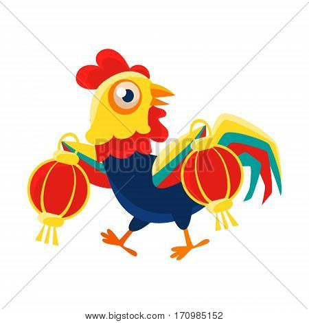 Rooster Cartoon Character Carrying Two Red Lanterns, Cock Representing Chinese Zodiac Symbol Of New Year 2017. Asian Astrologic Yearly Mascot Animal Vector Flat Illustration.