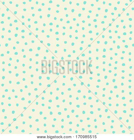 Vector Seamless Trendy Messy Polka Dot Pattern. Modern Ink Brush Line Background. Great For Print, W