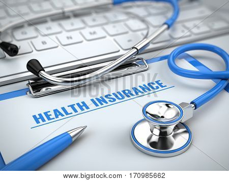 Health insurance concept - stethoscope on laptop keyboard with clipboard and pen. 3d illustration