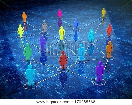 Concept of social media, internet communication, social network. 3d illustration