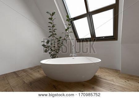 Contemporary minimalist bathroom with simple tub beside unusual slanted window. 3d Rendering.