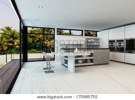 Large white open plan minimalist living room with kitchen in a tropical home with outdoor deck overlooking palm trees and the ocean. 3d Rendering.