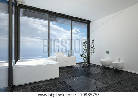 Hotel or penthouse bathroom in minimalist interior design with black floor, white walls and ceiling and huge panoramic view windows. 3d rendering.