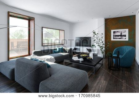 Large living room with square table and modular sofa chair furniture. 3d Rendering.