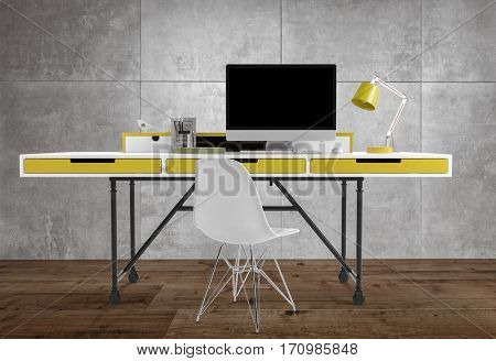 Front view of thin office desk with yellow drawers and lamp, computer and chair, on wooden floor, against grey background. 3d Rendering.