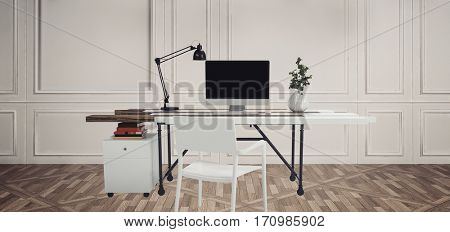 Workplace with computer, table lamp and plant. White desk and chair against white wooden wall on parquet floor. 3d Rendering.