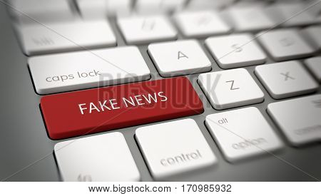 FAKE NEWS button or key on computer keyboard. 3d Rendering