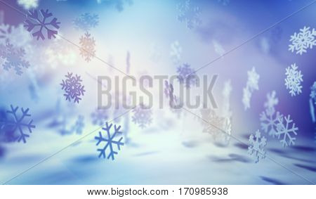 Background Image of Snowflake Shapes Falling and Floating in Serene Blue and White Lighting. 3d Rendering.
