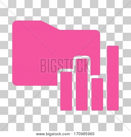 Charts Folder icon. Vector illustration style is flat iconic symbol pink color transparent background. Designed for web and software interfaces.